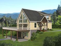 062H-0300: Rustic Mountain House Plan Mountain House Plans, Story Mountain, Mountain Houses, Porch Interior, Deck Fireplace, Mechanical Room, Floor Plan Drawing, Stair Detail, House Stairs
