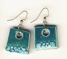 Teal and White crackle Earrings square hoops with by mariagotart, $9.99