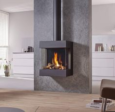 Spartherm DRU Gaskamin Diablo Next - Wood Burning Fireplace Inserts Gas Stove Fireplace, Gas Fire Stove, Fireplace Showroom, Pellet Stove, Fireplace Wall, Fireplace Design, Contemporary Gas Fires, Contemporary Style, Wood Burning Logs