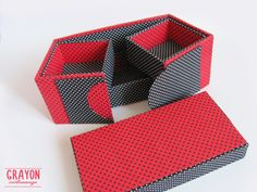 Box for everything - cartonnage box, fabric covered box, in cotton, black and…