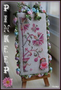 cross stitch pinkeep with fancy trim