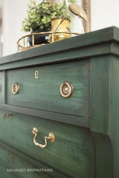 painted furniture Layered Chalk Painted Empire Dresser w Brass Handles Green Painted Furniture, Chalk Paint Furniture, Refurbished Furniture, Upcycled Furniture, Shabby Chic Furniture, Furniture Projects, Furniture Makeover, Vintage Furniture, Diy Furniture