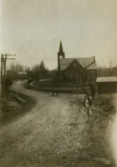 St. John's Lutheran Church Ridge Valley.  Notice the fence extends all the way to Finland Road.  There is no parking lot at St. John's because the horses and carriages were kept in the Union Sheds next to the Reformed Church.  The photo was taken from the Godshall store on the corner of Allentown and Finland Roads.