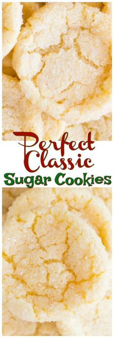 The perfect Classic Sugar Cookie recipe. The most luxurious cookie I've ever tasted – they're crispy on the edges, chewy in the center, and unbelievably rich. Sugar Cookie Icing, Chewy Sugar Cookies, Yummy Cookies, Crispy Sugar Cookies Recipe, Drop Cookies, Holiday Cookies, Cupcake Cookies, Holiday Treats, Amish Recipes