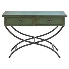 2-drawer wood console table with curved metal legs.   Product: Console tableConstruction Material: Wood and met...
