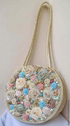"""Сумочка """"Мечта"""". - бежевый,цветочный,сумка нарядная,сумка с цветами,сумка из атласных лент"""