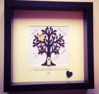Box frame wooden family tree in glass frame. Personalised keepsake & home decor