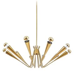 Delicate Austrian Spider, Sputnik Brass Chandelier   From a unique collection of antique and modern chandeliers and pendants  at http://www.1stdibs.com/furniture/lighting/chandeliers-pendant-lights/