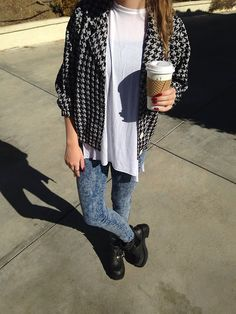 Baggy Tee x Over-sized Flannel (rolled sleeves) x Acid Wash Denim Skirt Instead x Rugged Boots