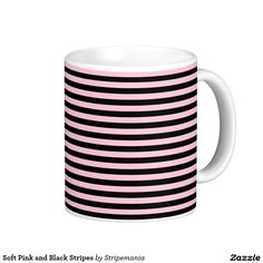 Soft Pink and Black Stripes Coffee Mug