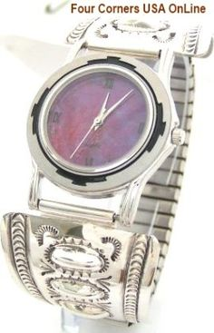 Four Corners USA Online - Men's Stamped Sterling Silver Watch Shown with Mohave Purple Turquoise Face Native American Jewelry, $241.00 (http://stores.fourcornersusaonline.com/mens-stamped-sterling-silver-watch-shown-with-mohave-purple-turquoise-face-native-american-jewelry/)