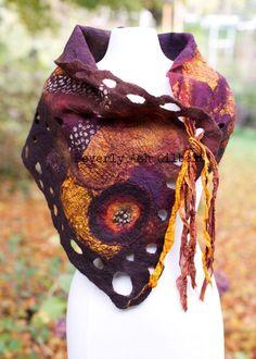 Cognac Butterfly Shawl, nuno felt, Brown, Gold, Purple, handcrafted, silk, wool, one of a kind, fashion, accessory, 2 sided
