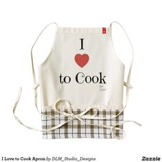 "Home Cooks and Chefs will find this ""I Love to Cook Apron"" a welcome must-have. Hand Made specifically for home use, this checkered apron is perfect to wear during all of your culinary adventures. created by DLM Studio Designs on Zazzle.com"