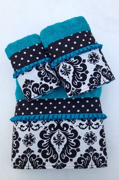 Turquoise and Black Damask and Polka Dot Bath by LadyDiBlankets, $60.99