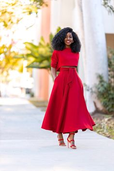 Style Pantry, Lady In Red, Midi Skirt, Bridesmaid Dresses, Street Style, Gowns, Style Inspiration, Stylish, Long Sleeve
