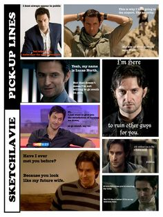 """Richard Armitage pick-up lines."" // Bahahahaha!! The expressions in the two left center ones are just perfect."