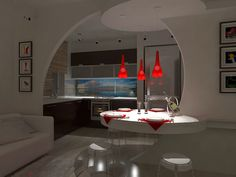I like this unusual kitchen.  Egg-shaped entrance, table and light-top.  Backless stools - Frankolight Champagne.