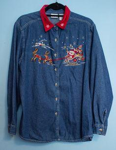 **SOLD** Vintage Bobbie Brooks Denim Christmas Shirt by JenuineCollection