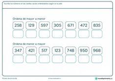 Ficha de ordenar números para primaria