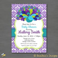 Peacock Baby Shower Party Invitation Purple Pink Teal Green Damask by BeeBeesDezigns
