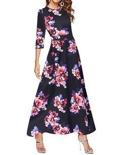 ecc64e2412 Simple Flavor Women's 3/4 Sleeve Vintage Floral Print Maxi Dress at Amazon  Women's Clothing store: