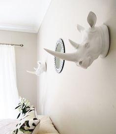 Rhino Animal Head Rhino Head Fax Taxidermy by hodihomedecor