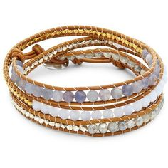 Chan Luu Multi-Stone & Leather Wrap Bracelet ($126) ❤ liked on Polyvore featuring jewelry, bracelets, button jewelry, brown jewelry, chan luu jewelry, leather wrap bracelet and chan luu