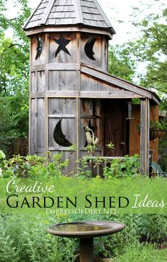 Moon and Stars garden shed from Creative Garden Shed Ideas at empressofdirt.net