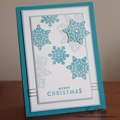 Miss Pinks Craft Spot: Flurry of Wishes Colour Combo: Bermuda Bay and Soft Sky on Whisper White