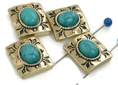 4 gold etched western slider beads 11199 - Mobile Boutique