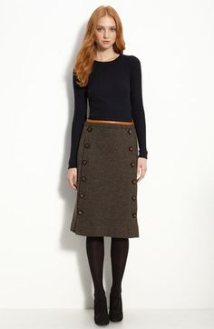 long wool skirt with buttoned panel - would love something similar BUTTONS! Long Wool Skirt, Wool Skirts, Work Fashion, Modest Fashion, Modest Outfits, Cute Outfits, Style Couture, Nordstrom Dresses, Her Style