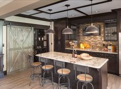 Basement Bar, wine closet, barn door, masculine feel -  Beautiful Family Home with Open Floor Plan
