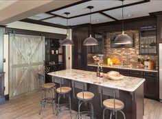 Basement Bar, wine closet, barn door, masculine feel -  Beautiful Family Home with Open Floor Plan