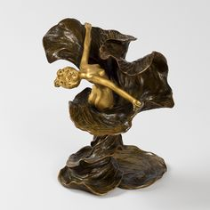 French Art Nouveau Gilt & Patinated Bronze Sculpture of Loïe Fuller by Louis Chalon, cir. 1894