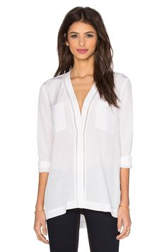 Vince Ladder Stitch Button Up in Off White