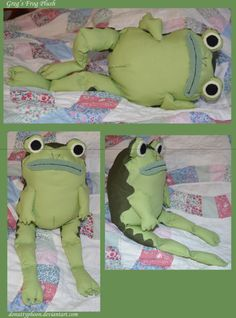 Greg's Frog Plush by DonutTyphoon on DeviantArt - Plushies Stuffed Animals, Stuffed Animal Patterns, Totoro, Sewing Crafts, Sewing Projects, Over The Garden Wall, Crochet Amigurumi, Crochet Dolls, Frog And Toad