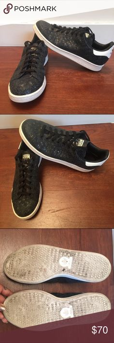 Adidas Snakeskin Sneaker Incredibly cute pair of Adidas in a black shiny snakeskin print. Only worn 4-5 times (see bottom of shoe). Basically new! I'm a definite size 8.5 and these are a size 8 and fit perfectly. Better price eBay if comment. Adidas Shoes Sneakers