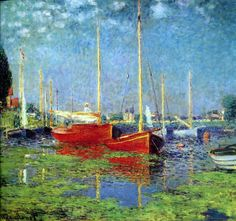 Claude Monet  Pleasure Boats At Argenteuil, 1875, oil on canvas,  From December 1871 to 1878 Monet lived at Argenteuil, a village on the right bank of the Seine river near Paris, and a popular Sunday-outing destination for Parisians. During his stay there he painted some of his best known works.