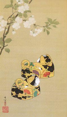 鈴木其一 Suzuki Kiitsu 桜に紙雛犬筥図 部分 Paper hina dolls,Dog-shaped boxes and cherry blossoms