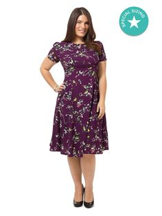 Purple Dress In Bird Print 4x *best for a 2x/ 20/22). HAS BEEN WORN, Hell Bunny