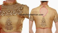 Gold High Neck Blouse – Beautiful gold shimmer high neck Maharani blouse embellished with kundans, beads and pearls. It has tear drops shaped cut out on the back. Golden Blouse Designs, Blouse Designs High Neck, Blouse Designs Silk, Saree Blouse Patterns, Back Neck Designs, High Neck Saree Blouse, Sari Blouse, Embroidery Neck Designs, Stylish Blouse Design