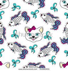 Kids, Cartoon seamless pattern. Lovely pictures for your creativity. Skarpbuking. Cat, kitty, fish, goldfish, bows #bubushonok #art #bubushonokart #design #vector #shutterstock #pattern #fabric #seamless #doodle #ornament