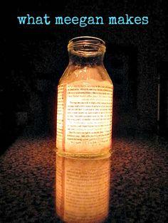 Mod Podge book page onto glass jar