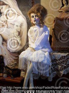 Lovely rare smoking boudoir doll in very Marlene Dietrich 'Scarlet Empress' fur hat. (Please follow minkshmink on pinterest)