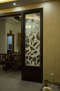 Partition design ideas asian style living room by homify asian Wooden Partition Design, Glass Partition Designs, Window Glass Design, Glass Partition Wall, Wooden Partitions, Living Room Partition Design, Pooja Room Door Design, Ceiling Design Living Room, Bedroom False Ceiling Design