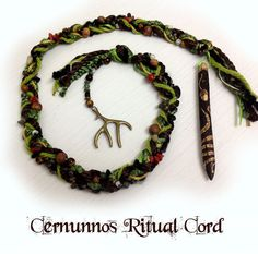 Cernnunos Ritual Cord - horned god wand pagan witch witchcraft wiccan wicca cingulum green woodland forest shaman pan druid