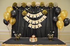 Black & Gold Themed 50th Birthday Party Backdrop