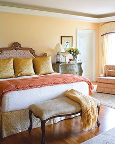 Beautiful, traditional master bedroom with crown molding #traditional #yellow ©Balducci Builders, Inc.