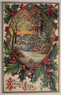 Vintage Stuff and Antique Designs Christmas Door Wreaths, Christmas Scenes, Old Fashioned Christmas, Christmas Past, Christmas Greetings, Christmas Ideas, Christmas Postcards, Vintage Christmas Images, Retro Christmas