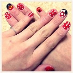 Mickey Mouse nail art ... Idea for Hailey to earn some money ... she can do this to all of us!!!!